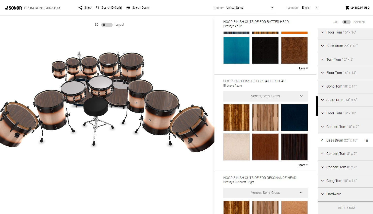 Sonor Drum Configurator Back View