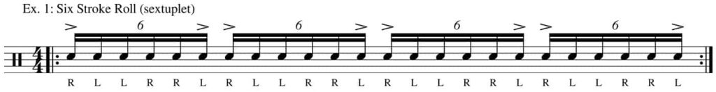 Six stroke roll as sextuplets - drum transcription