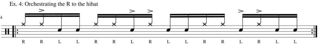 Six stroke roll permutation with hihat - drum transcription