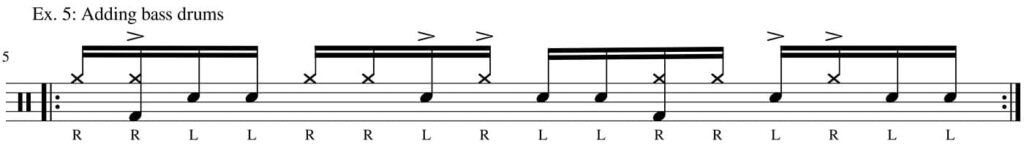Six stroke roll permutation with hihat and bass - drum transcription